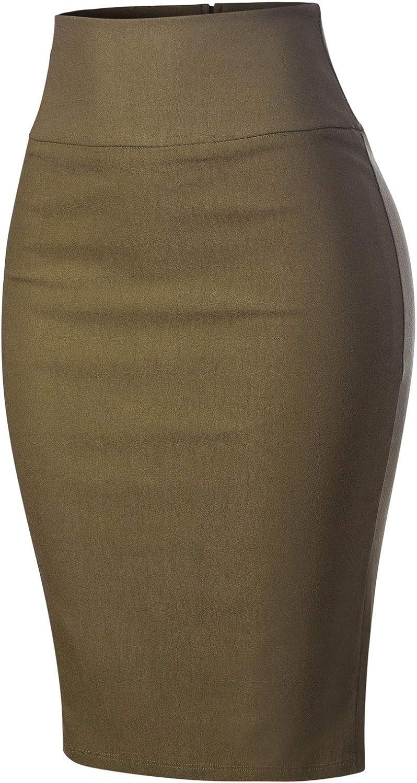 MixMatchy Womens Stretch Office Knee Length Midi Bodycon Pencil Skirt