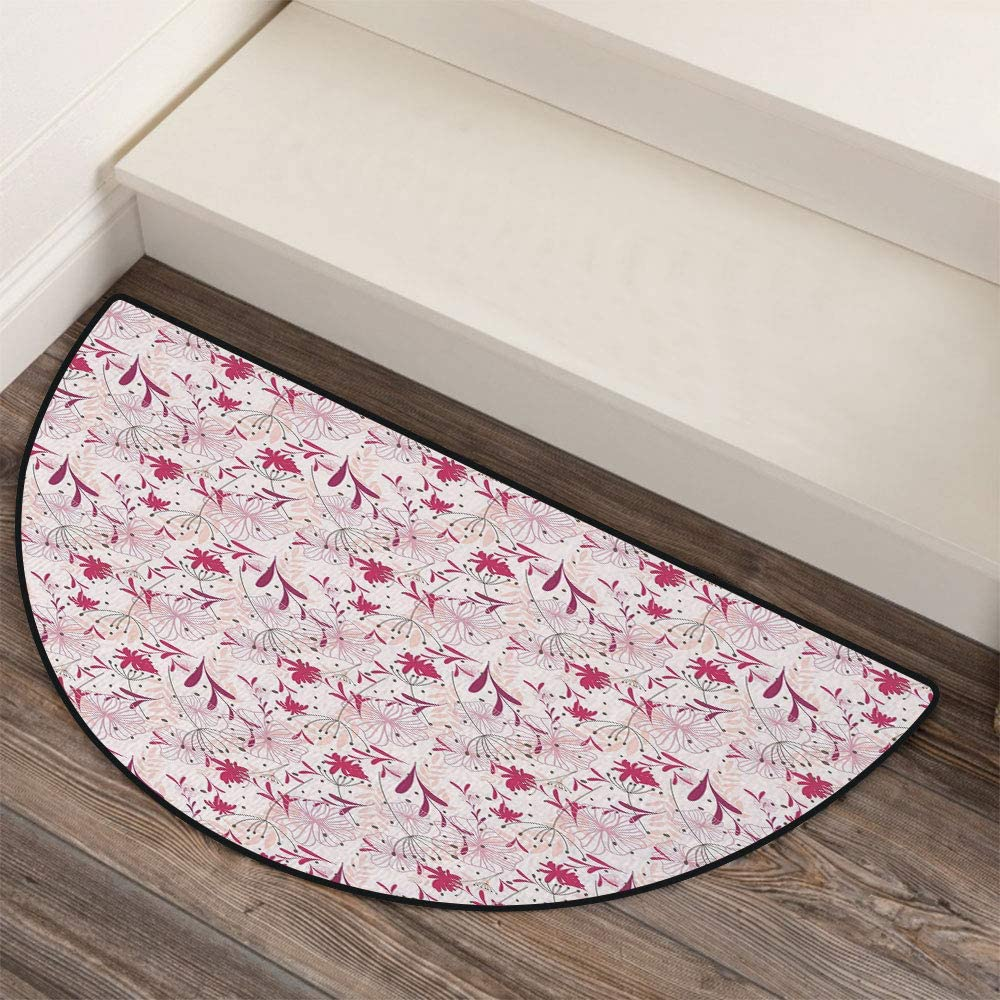 36 x 72 Half Round Door Mat,Candy Canes Mushrooms Angel Figure on Xmas Tree Seasonal Composition and Letter U Decorative Outdoor//Indoor Entry Rug,for Home Kitchen Office Standing Desk Mats,Multicolo