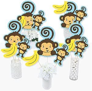 Juego de 15 palos de centro de mesa para fiesta de cumpleaños o baby shower con diseño de mono azul: Amazon.es: Juguetes y juegos