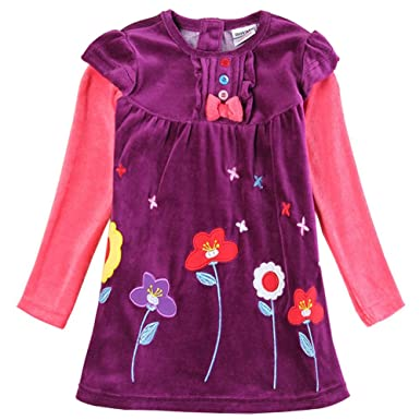 Amazon.com: Novatx Winter Long Sleeve Princess Pretty Dress for Baby Girls H5613 Purple: Clothing