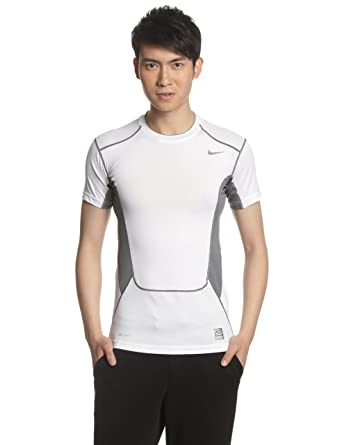 90b9f4d48a Nike Men's Hypercool Compression 2.0 Short Sleeve Shirt - White/Cool Grey,  XX-