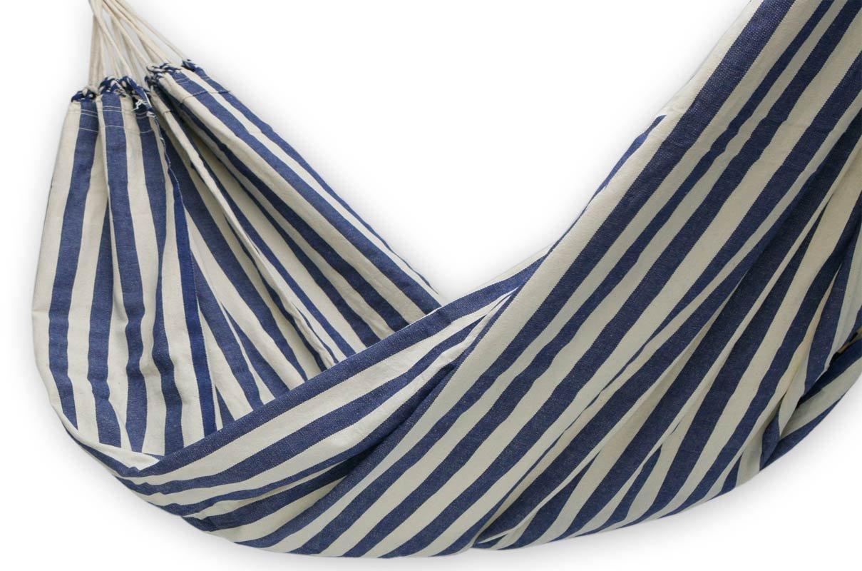 NOVICA Blue and White Striped Brazilian Outdoor Cotton Hammock, Maritime Brazil single – HAM0010