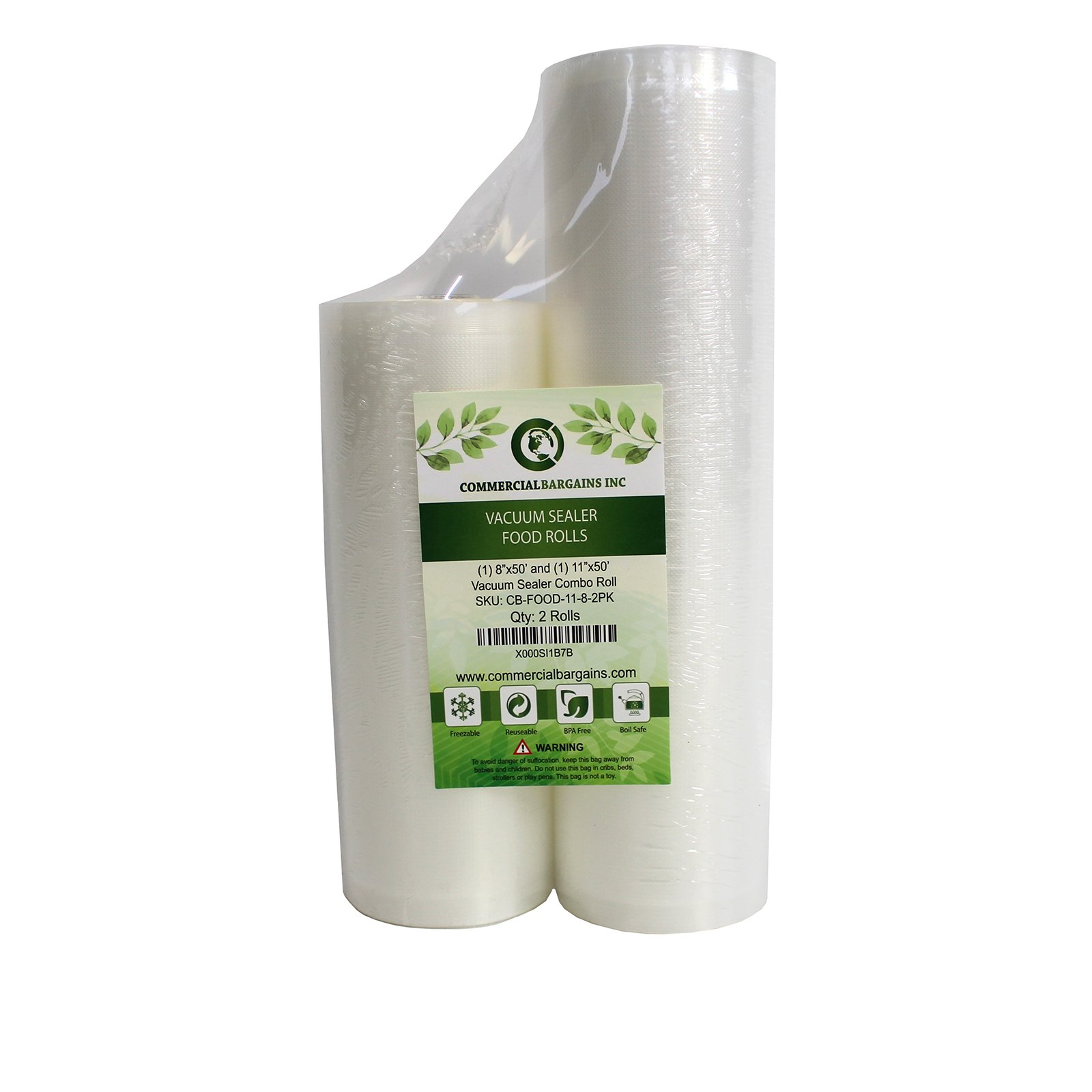 Commercial Bargains 11'' x 50' and 8'' x 50' Commercial Vacuum Sealer Saver Rolls Food Storage by Commercial Bargains (Image #1)