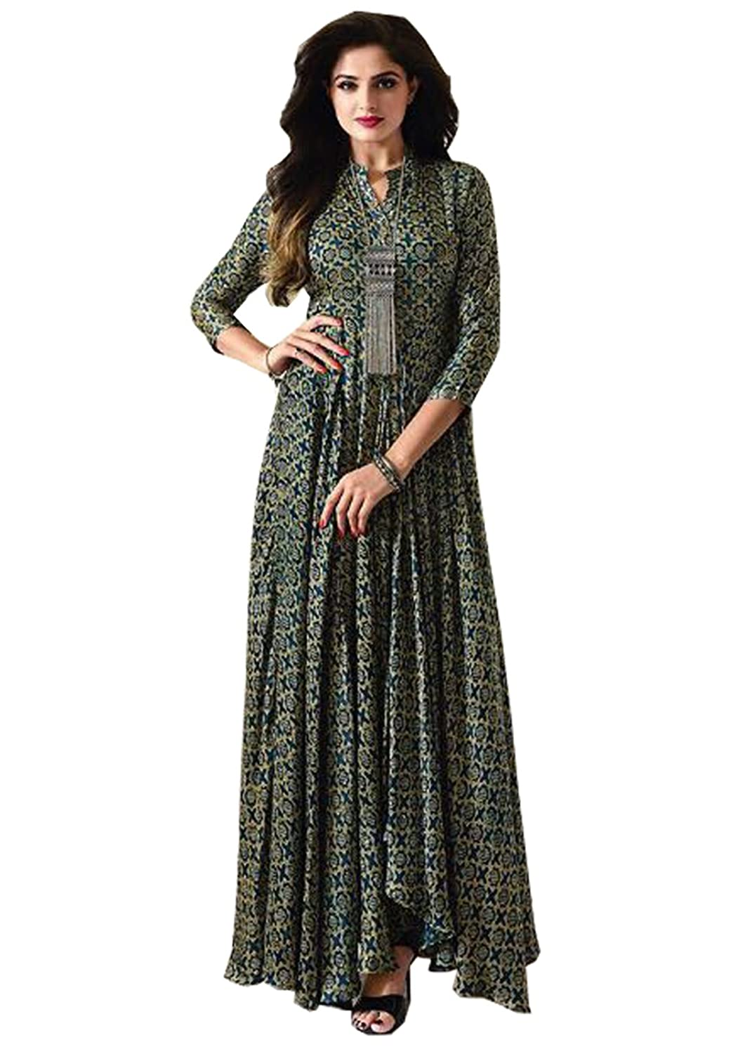 Women\'s Green Cotton Party Wear Gown Online Shopping - ShopperMb India
