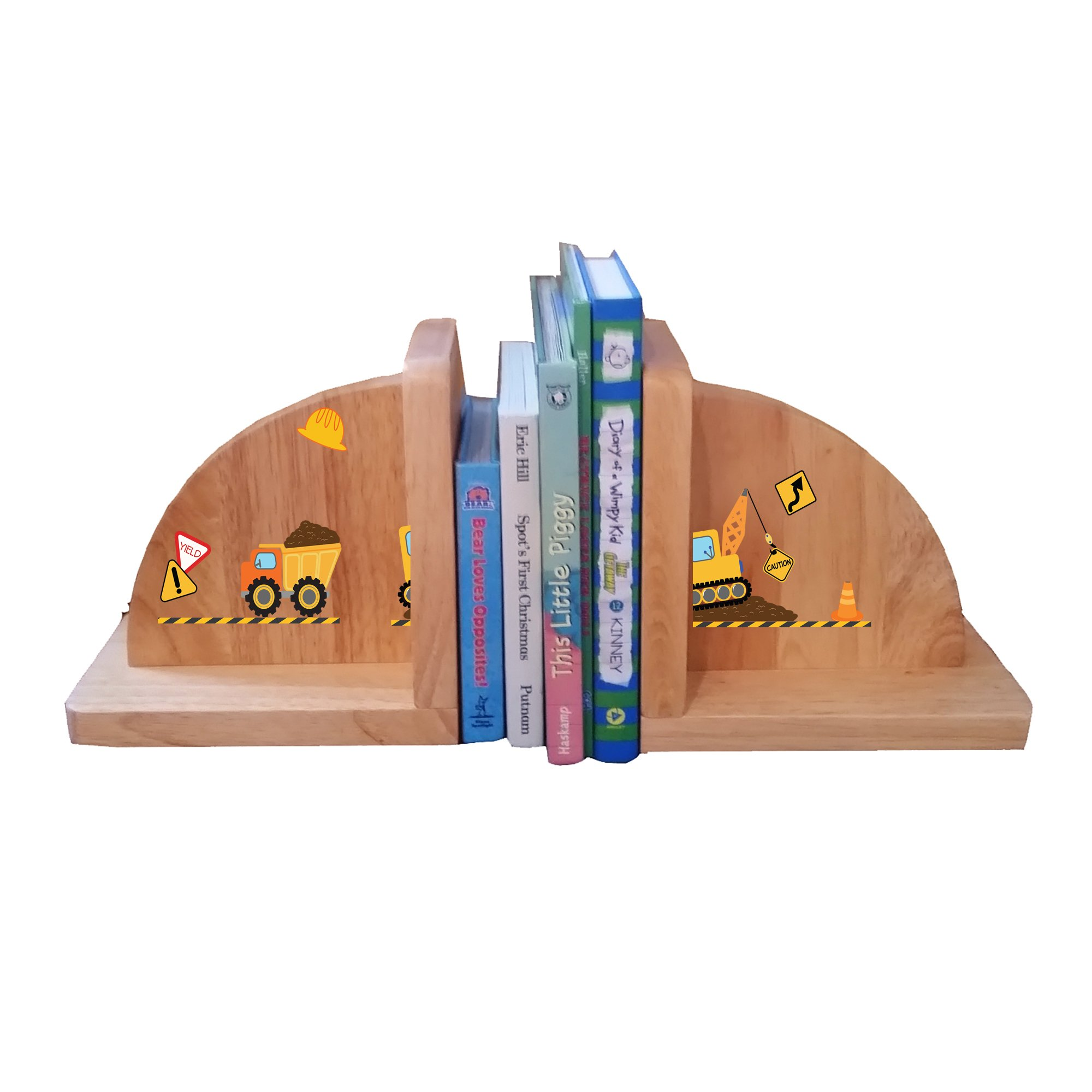 Personalized Construction Natural Childrens Wooden Bookends