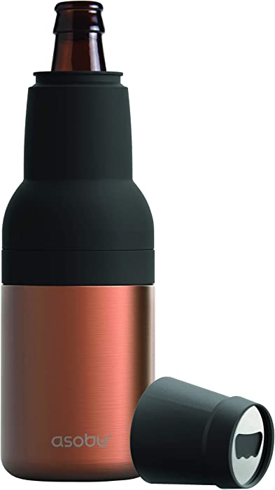 Asobu Frosty Beer 2 Go Vacuum Insulated Double Walled Stainless Steel Beer Bottle and Can Cooler with Beer Opener (Copper)