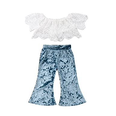 2a08330bdc1a Amazon.com  Toddler Baby Girl Clothes Set White Lace Off-Shoulder ...