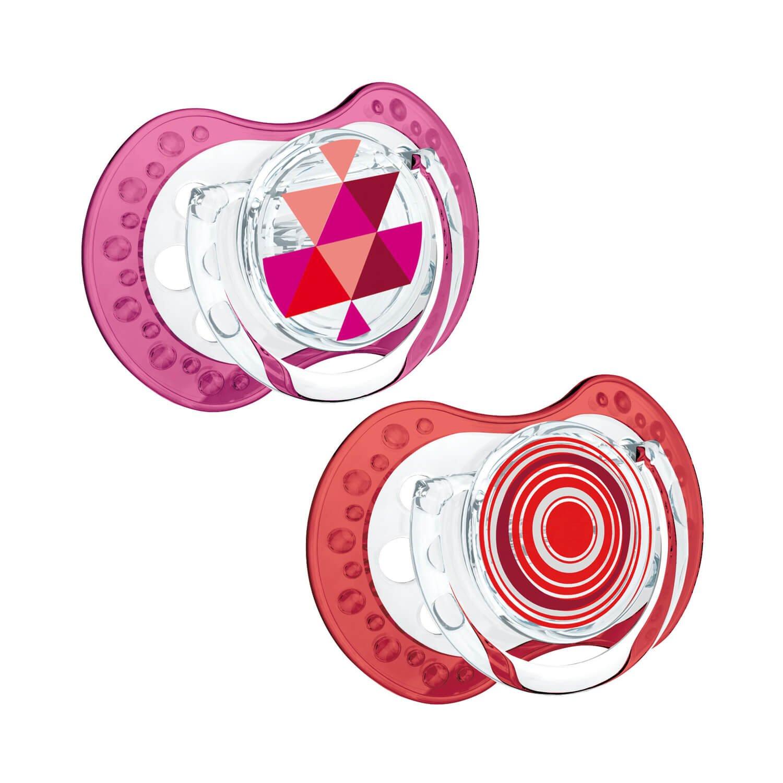 Lovi dinámico de silicona Chupete, Etno, kiefergerecht, 2 unidades, sin BPA), 2 tapones rojo rojo Talla:3-6 meses