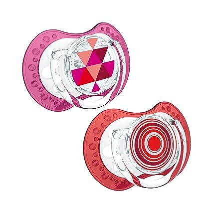 Lovi dinámico de silicona Chupete, Etno, kiefergerecht, 2 unidades, sin BPA), 2 tapones rojo rojo Talla:0-3 meses