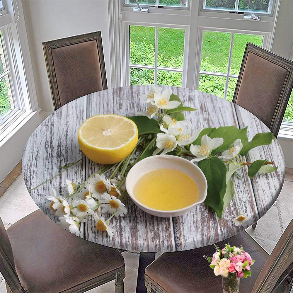 """Luxury Round Table Cloth for Home use spa Aromatic Oil and Lemon Slices with Herbs on Wooden Background for Buffet Table, Holiday Dinner 59""""-63"""" Round (Elastic Edge)"""