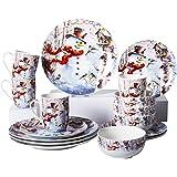 Xiteliy Ceramic Dinnerware Sets Plates Bowls Mugs Christmas Gecorations Gift Theme 16 Pieces (16, Light Blue)