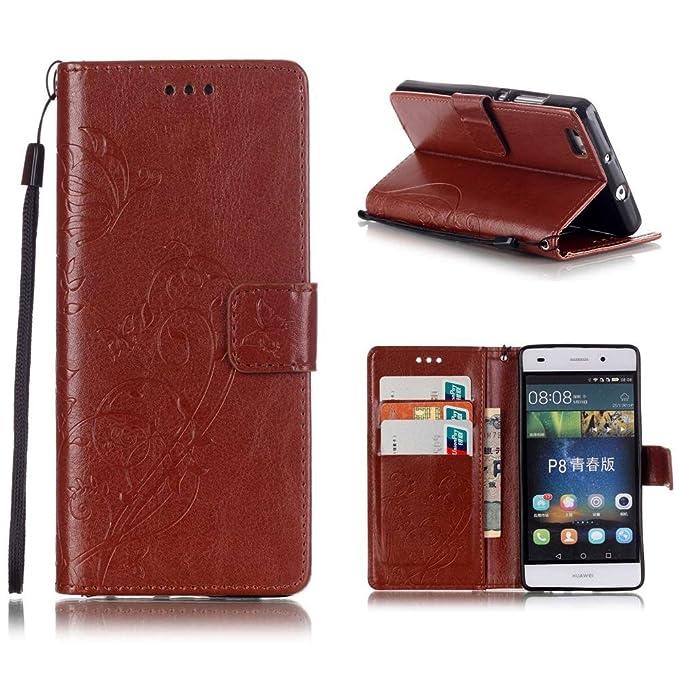 13 opinioni per KATUMO®Marrone Case per Huawei ALE-L21 P8 Lite, Prottetiva in Pell PU Cuoio Casi