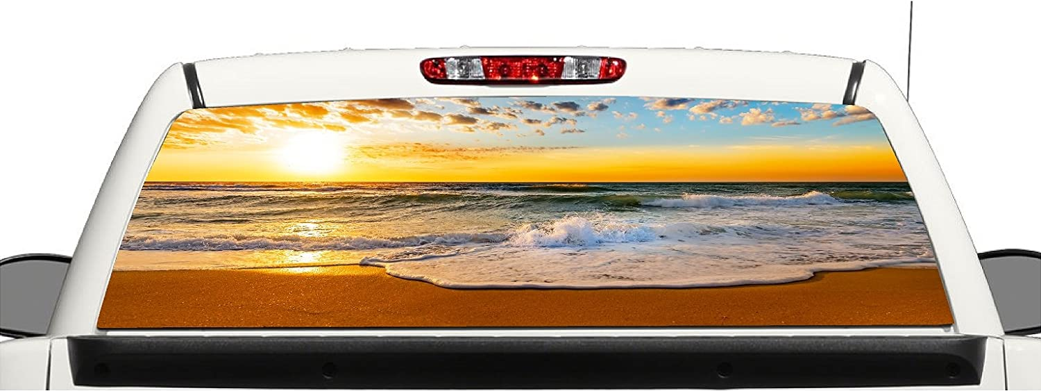 Truck SUV Beach Ocean Sunset Rear Window Graphic Decal Perforated Vinyl Wrap avgrafx grf1000
