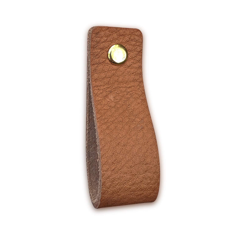 tiradores para Accesorio de Mobilario Piel de Granos 16,5 x 2,5 cm armario Naturel // 6 piezas caj/ón 3 tornillos de color puerta Tiradores de Cuero