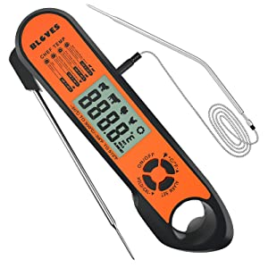 Meat Thermometer Instant Read, BLOVES Double Extra Long Probe Digital Food Thermometer with Chef Guide&Bright Backlight for Kitchen Oven Cooking BBQ,Grill, Coffee etc, Cook Like A Pro