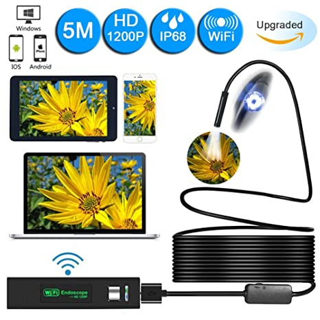 PC 5M Wireless Endoscope Tablet Samsung BEVA Upgraded 2 in 1 Borescope Inspection Camera 2.0 Megapixels 1200P HD Snake Camera for Android and IOS Smartphone iPhone