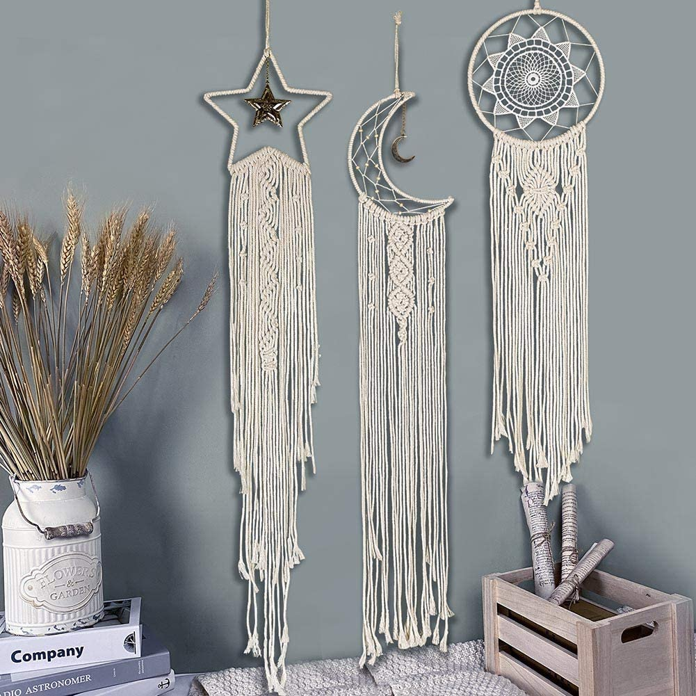 MIPON 3Pcs Macrame Dream Catcher, Handmade Woven Boho Tapestry, Chic Bohemian Home Decor Wall Hanging Sun & Moon & Star Decoration Craft Gift