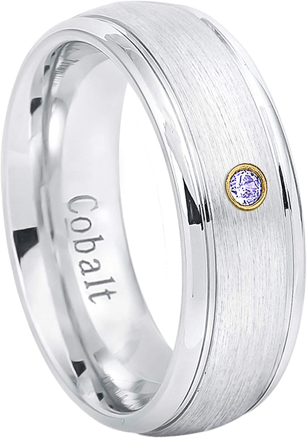 Jewelry Avalanche 8MM Comfort Fit Brushed with Grooved Edge Cobalt Chrome Wedding Band 0.07ct Tanzanite Cobalt Ring December Birthstone Ring