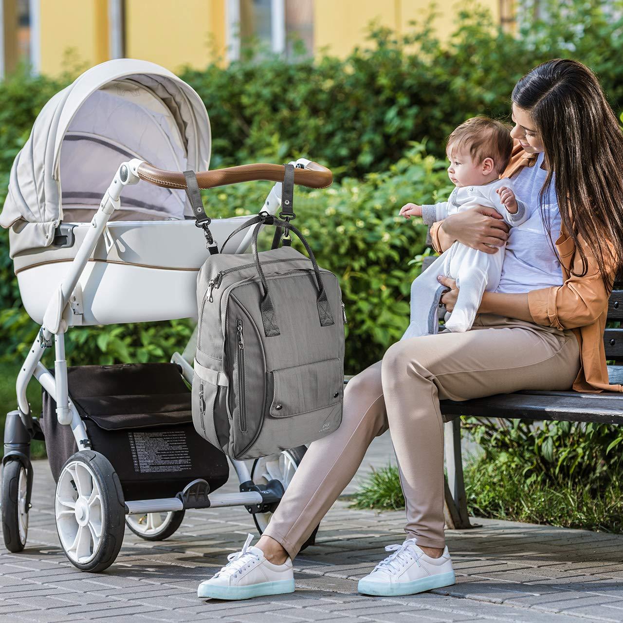 Bolsa de Viaje Duradera para Madre y Padre Bolsa para Beb/é Multifuncional de Gran Capacidad OMORC Mochila de Pa/ñales Gris Mochila de Cambio Beb/é para Viajar con 2 Ganchos para Cochecito de Beb/é