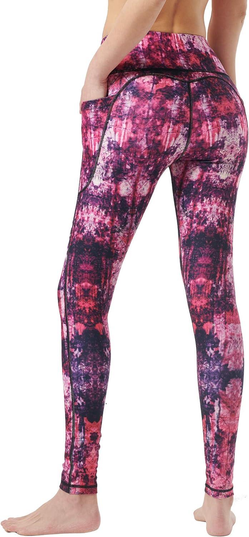Zeronic Womens High Waist Yoga Pants with Pockets Printed Leggings Workout Running 4 Way Stretch Pattern Yoga Leggings