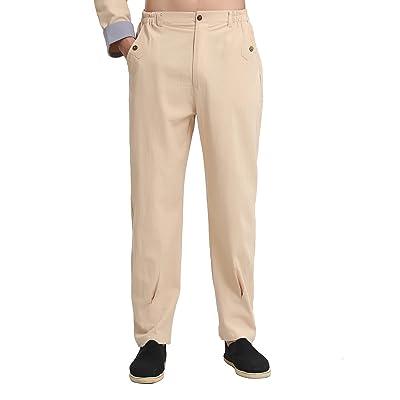 33202cf16ae16 ACVIP Homme Pantalon Long en Coton de Chanvre Tai Chi Kung Fu