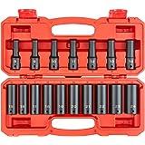 TEKTON 1/2 Inch Drive Deep 6-Point Impact Socket Set, 17-Piece (8-24 mm)   SID92329