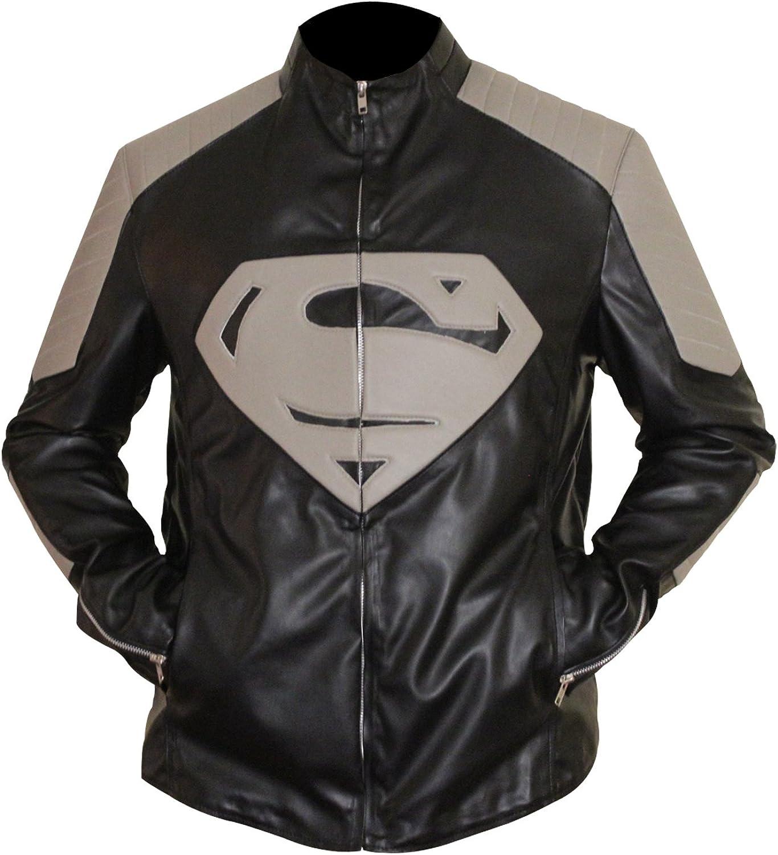 Mens Super Black /& Grey Jacket with Super S Logo for Man