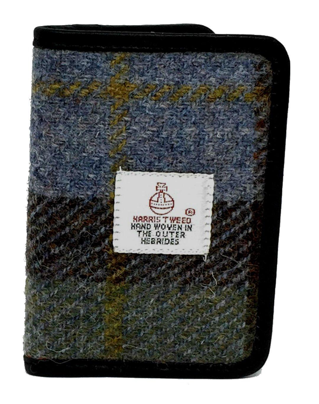 Harris Tweed et porte-cartes en cuir de différentes couleurs (Bleu)