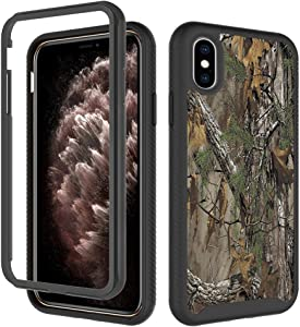 iPhone Xs Max Cases, Camouflage Tree Trunk Design for Boys Men Dual Layer Shockproof Rugged Cover Soft TPU and Hard PC Bumper Full-Body Protective Case for iPhone Xs Max (6.5 inch)-Hunting Camo Forest
