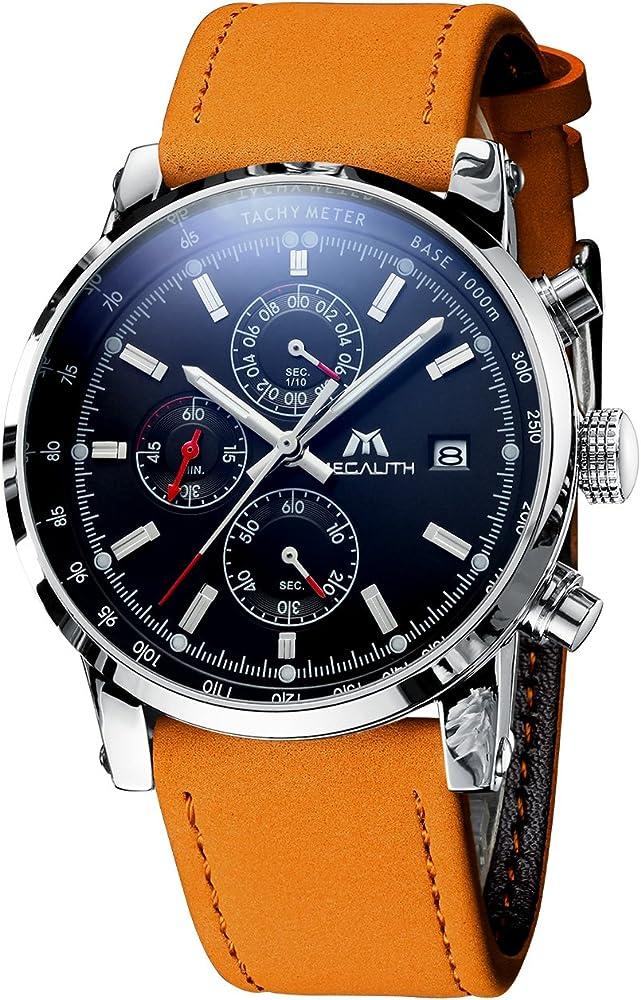 Relojes Hombre Relojes de Pulsera Deportivos Militar Cronografo Impermeable Negro Reloj de Acero Inoxidable Fecha Luminosos Analógico Negocios Vestido: Amazon.es: Relojes