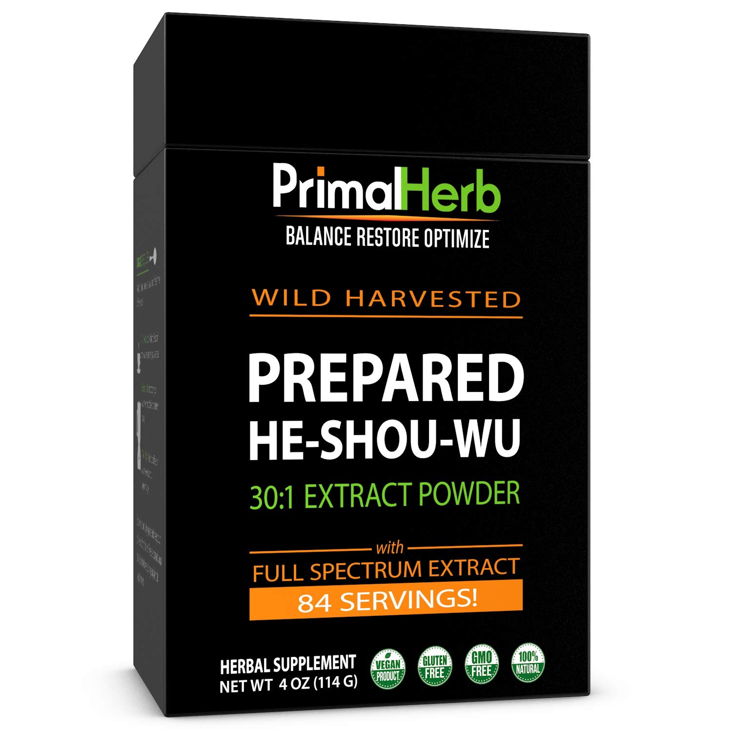 He Shou Wu Fo ti Root Extract Powder - by Primal Herb | Longevity Tea - Supports Hair Growth & Glowing Skin | Organic Potent 30:1-84 Servings - Aged Roots | Includes Bamboo Spoon by Primal Herb (Image #1)