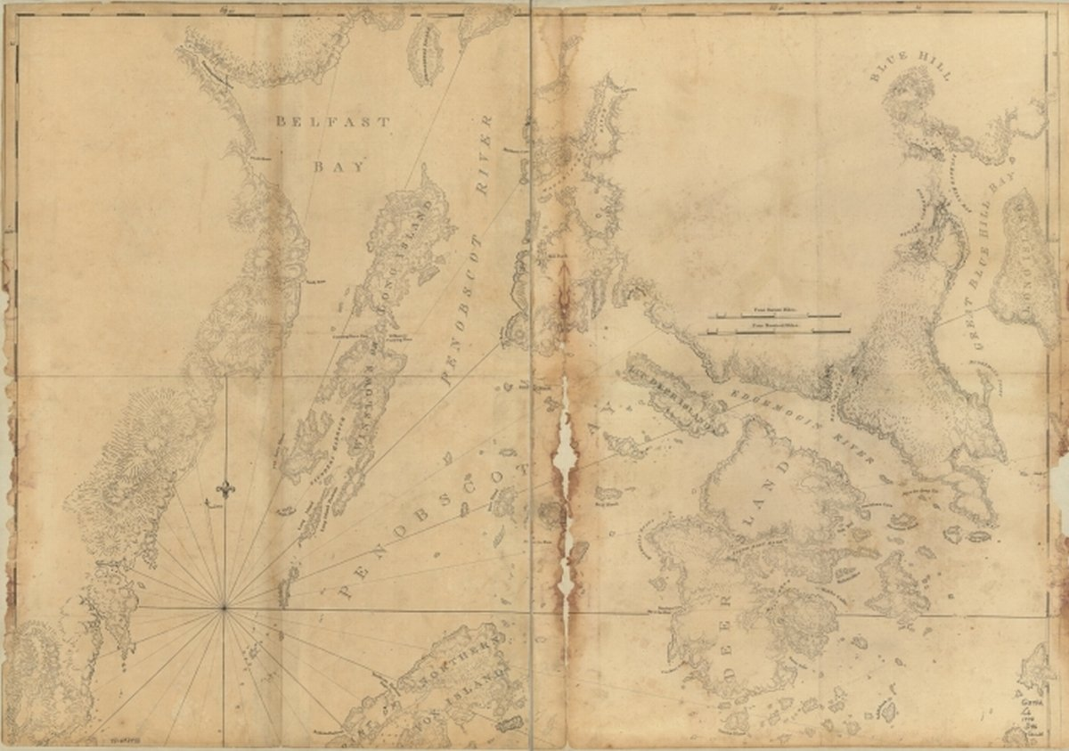 Map 1776 Coast Of Maine Showing Blue Hill Bay Penobscot Bay