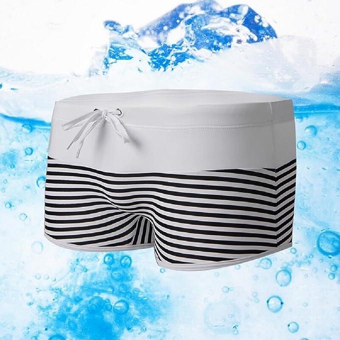 ZC&J Männer hochwertiges Stoffstich gestreifte Nylon Badeanzüge Shorts,  weiche und bequeme atmungsaktive elastische Shorts Schwimmen Hosen, Strand  Shorts: ...