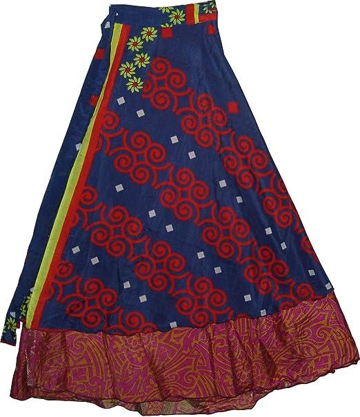 Creativegifts falda larga para mujer de dos capas estilo sari ...