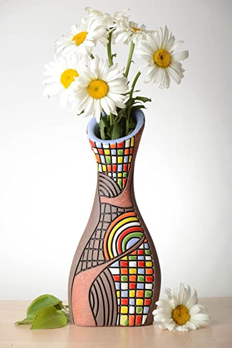 275 & Amazon.com: Bright Handmade Ceramic Vase Homemade Clay Vase ...