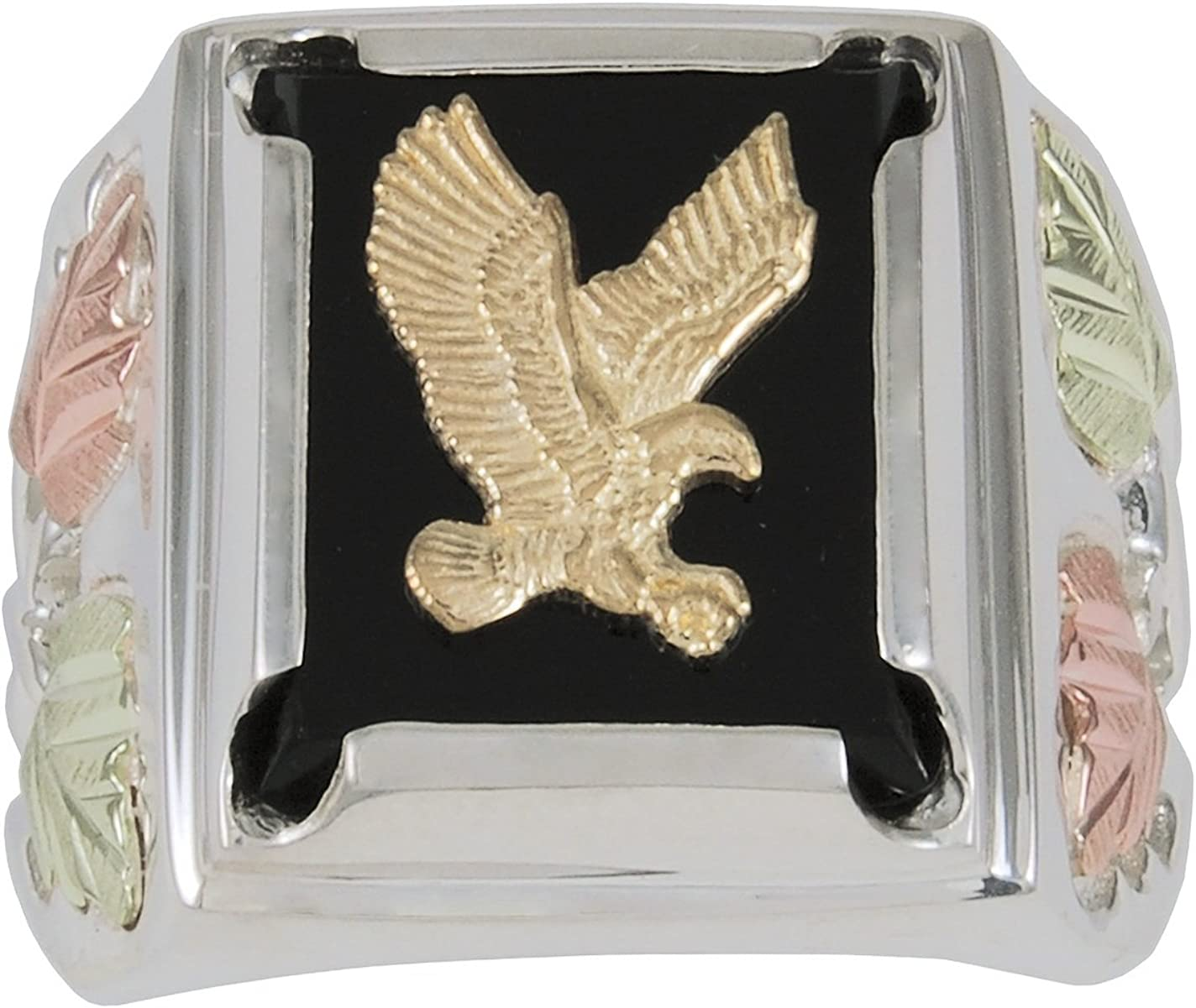 Mens Eagle Onyx Ring Sterling Silver 12k Green and Rose Gold Black Hills Gold Motif