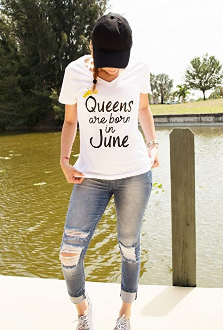 bdad788aa Amazon.com: Queens are Born in June Birthday Shirt Women's Gift by LeRage:  Clothing