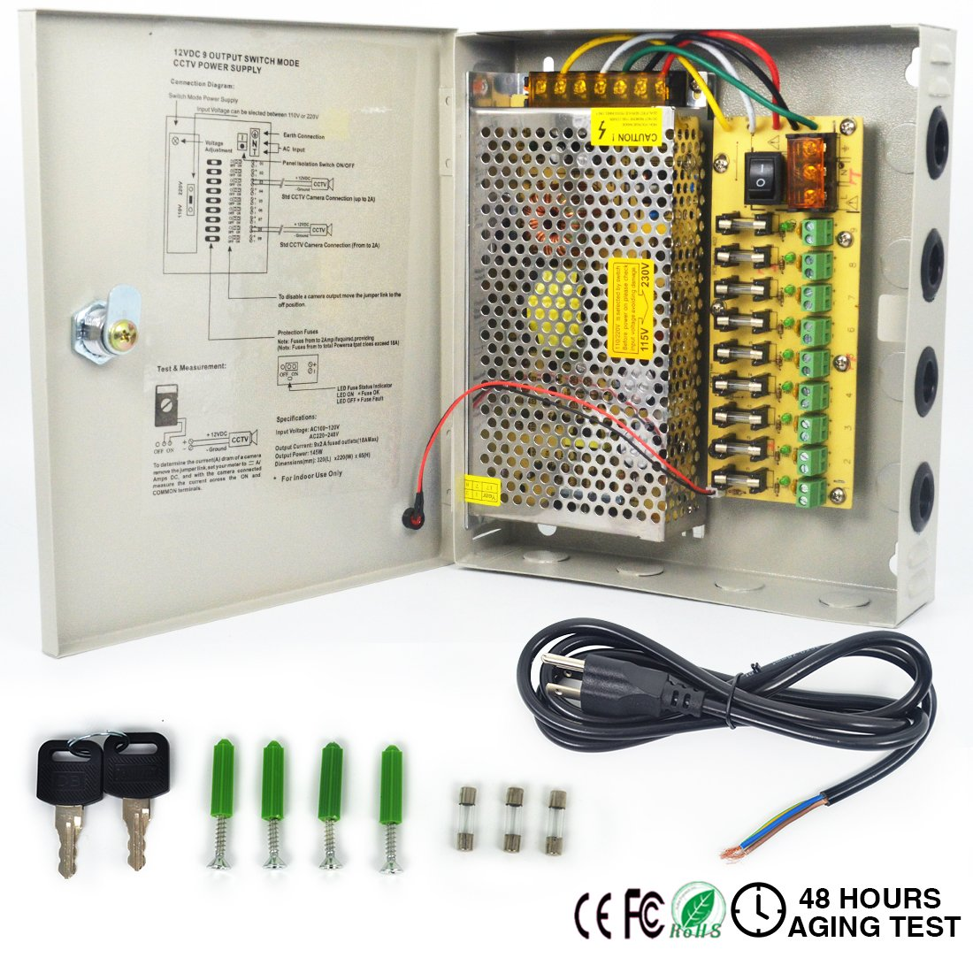 LETOUR DC Power Supply 9 Channel Port Output 12V 150W CCTV Electrical Box Distributed Power Supply Box with AC Power Line and Key (9CH 12.5A 150W)