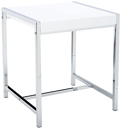 Monarch Metal Accent Table, White Acrylic/Chrome