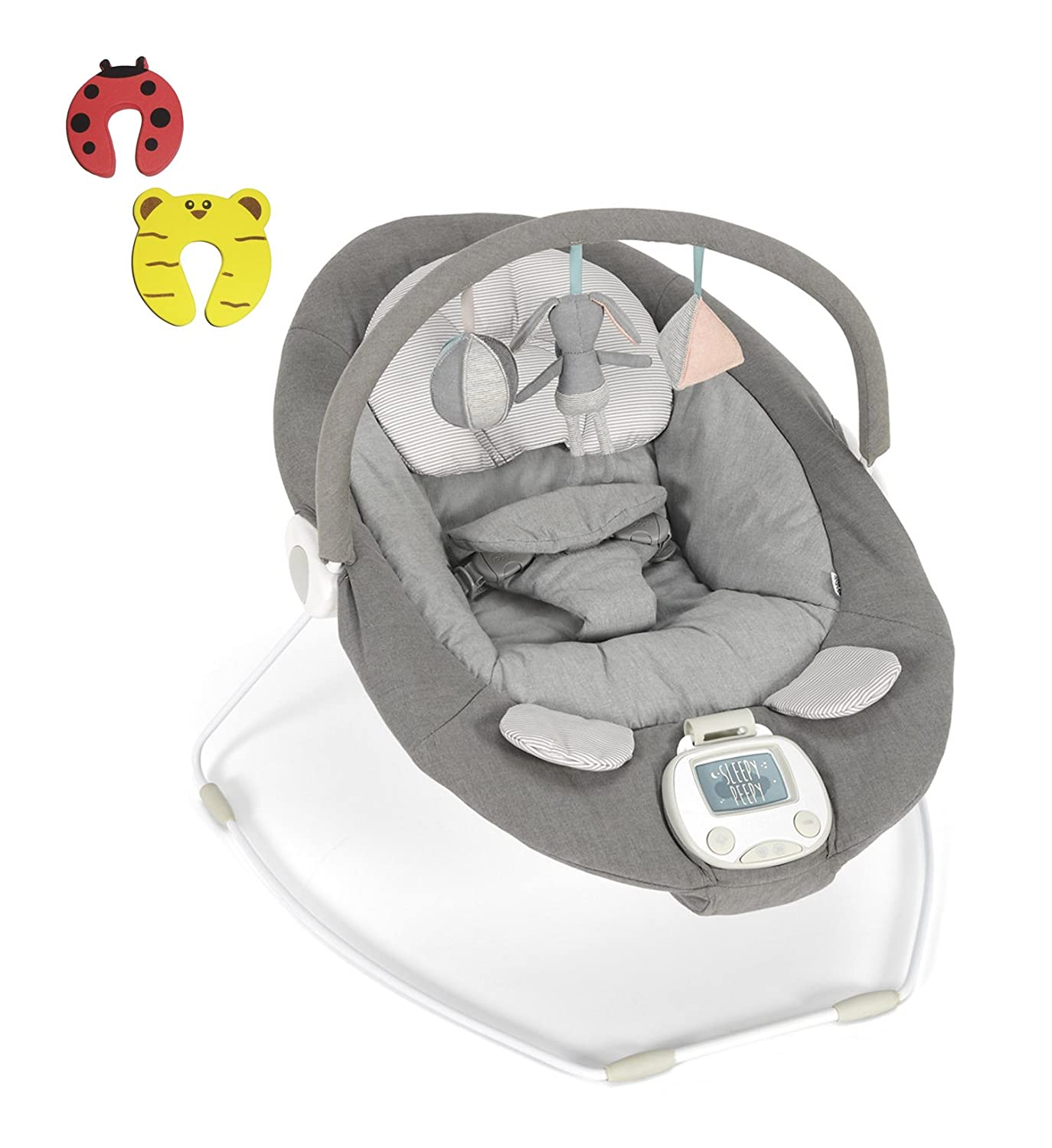 Mamas & Papas Baby Vibrating Musical Apollo Bouncer Grey Melange NEW 2018 DESIGN Chair - Suitable From 0-6 Months - Incs 2 Door Stoppers Baby Best Buys Apolloe Melange Grey