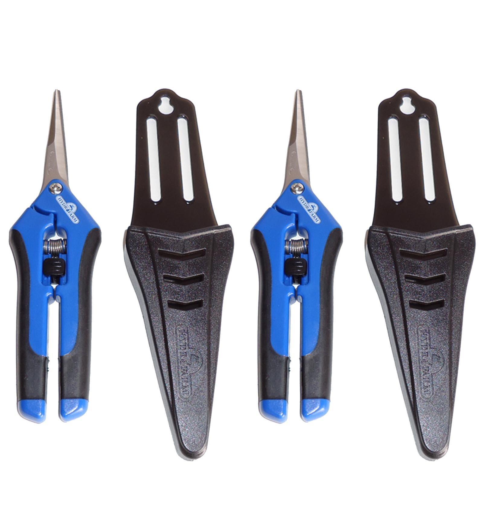 (2) HYDROFARM HGPP400C Precision Curved Blade Trimmer Scissor Pruners w/ Holster by Hydrofarm