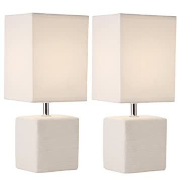 Light Accents Table Lamp Set Square Ceramic Table Lamps (2-Pack, Off ...