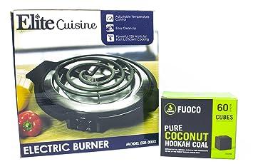 Fumari Fuoco Coconut Hookah Charcoal (60 Pieces - Cube) + Elite Cuisine ESB-