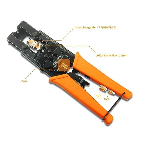 Etekcity multifuncional coaxial conector de compresión ajustable Herramienta, cortador de alambre, para RG58 RG59 RG6 F BNC RCA: Amazon.es: Bricolaje y ...