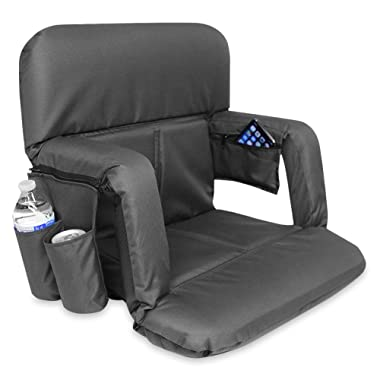KHOMO GEAR Stadium Bleacher and Bench Seat Chair with Padded Reclining Cushion and Armrest and Carry Straps