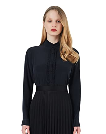 39da8b0139bbfa COLD POSH Silk Blouses for Women 100 Silk Blouse Long Sleeve Pure Silk Shirt  White Mulberry Silk Button Down Shirt with Frill