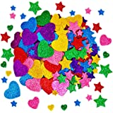 260 Pieces Colorful Glitter Foam Stickers Self Adhesive Stars Mini Heart Shapes Glitter Stickers, Kid's Arts Craft Supplies Greeting Cards Home Decoration Stars&Heart Shapes