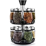 12-Jar Revolving Spice Rack Organizer - Spinning Countertop Herb and Spice Rack Organizer with 12 Glass Jar Bottles