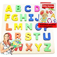 Wooden-Alphabet-Toddler Puzzles-Toys for 2 to 3 Year Olds Kids with Big Bright Color...