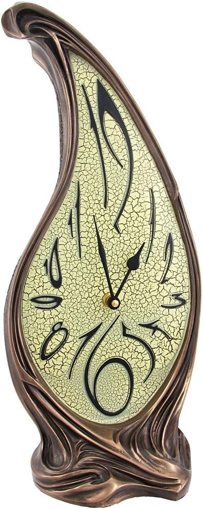 Veronese Design Trippy Bronze Finish Melting Mantel Clock Dali-esque